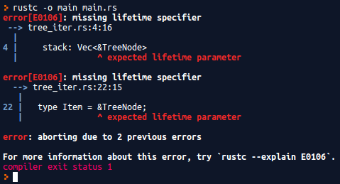 program output of the incorrect rust immutable pre-order traversal