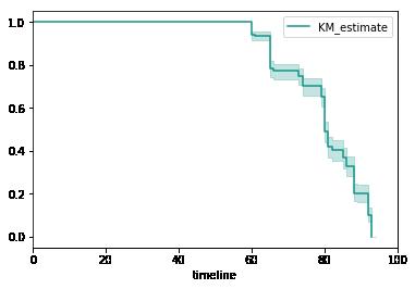 Example of practical estimated survivor function